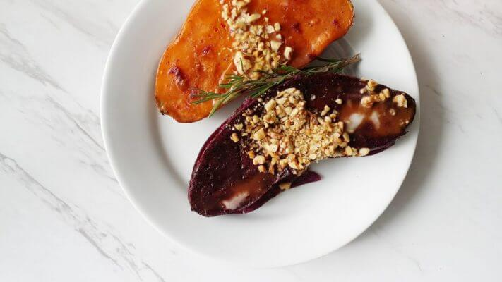 Vegan Coconut Maple Glazed Sweet Potatoes with Toasted Walnuts